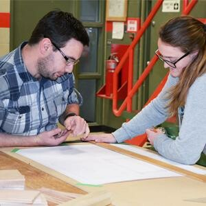NLC Instructor Ryan Broadfoot with Carpentry student